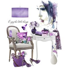 Purple and Butterflies by karlajkitty on Polyvore featuring art