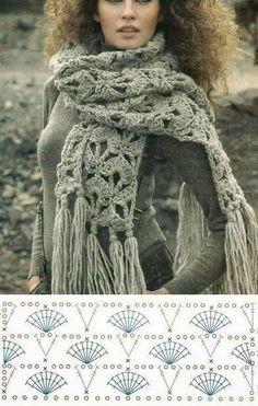 Shawl Crochet Patterns Part 6 - Beautiful Crochet Patterns and Knitting Patterns Crochet Scarf Diagram, Crochet Scarf Tutorial, Poncho Crochet, Crochet Scarves, Crochet Clothes, Crochet Lace, Crochet Stitches, Crochet Afghans, Knitting Patterns
