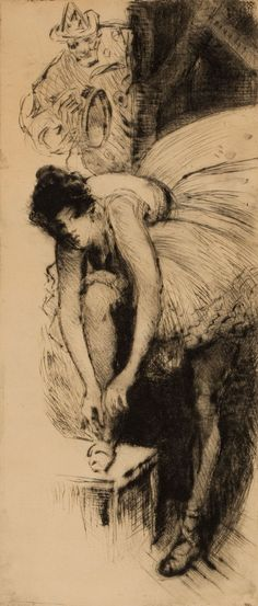 OTTO HENRY SCHNEIDER (American, 1865-1950). Show Girl, November 1904. Dry-point etching
