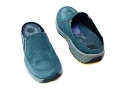 New Clarks Women Blue Green Suede Slip on Comfot Athletic Shoes Slides 6 M