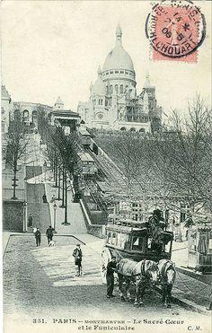 Le Sacré-Coeur et le Funiculaire in Montmartre Paris, early century Montmartre Paris, Vintage Paris, Old Paris, Foto Vintage, Paris 1900, Old Pictures, Old Photos, Vintage Photos, Beautiful Paris