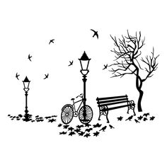 biking in the park Wall Drawing, Cool Art Drawings, Art Drawings Sketches, Easy Drawings, Mural Art, Wall Art, Wall Painting Decor, Painting Art, Bird Silhouette