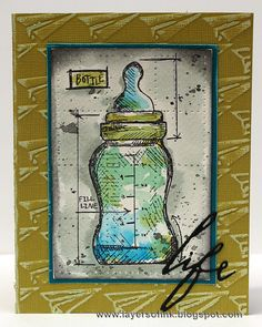 Layers of ink - Baby Blueprint Tutorial by Anna-Karin. Made with Tim Holtz stamps, inks and Sizzix products.