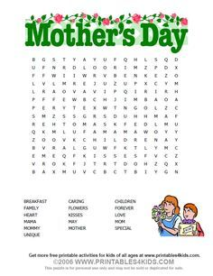 Mothers Day Wordsearch : Printables for Kids – free word search puzzles, coloring pages, and other activities