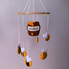 Hand Stitched Buzzing Bees Nursery Mobile - Custom Made - Winnie the Pooh Inspired Crib Mobile