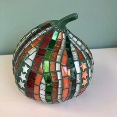Three Fall Pumpkins in Glass Mosaic | Etsy White Serving Tray, Rainbow Glass, Fall Pumpkins, Mosaic Glass, Frames On Wall, Mosaics, Christmas Bulbs, Display, Ceramics