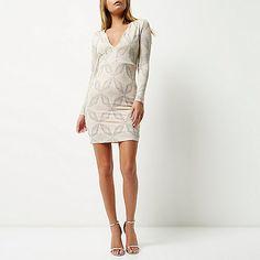 Light pink sparkling plunge dress - bodycon dresses - dresses - women