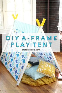 DIY Kids Play Tent DIY A-Frame Play Tent – The Pretty Life Girls. Perfect play tent for kids room decor! Diy Party Tent, Diy Tent, Teepee Tent, Kids Sleepover, Slumber Parties, Tent Parties, Cabana, Toddler Tent, Girls Tent
