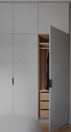 When you open the tall cabinet, we want hanging space and additional drawer spac. When you open the tall cabinet, we want hanging space and additional drawer spac… – Kathrin Kos Wardrobe Design Bedroom, Bedroom Cupboard Designs, Bedroom Cupboards, Wardrobe Doors, Wardrobe Closet, Built In Wardrobe, Closet Bedroom, Master Closet, Ikea Open Wardrobe