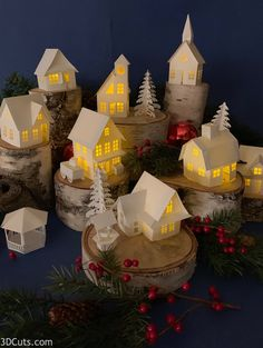 Christmas decoration detail are offered on our site. Take a look and you wont be sorry you did. 3d Christmas, Christmas Mantels, Vintage Christmas, Christmas Decorations, Holiday Decor, Christmas Tree Village Display, American Gothic House, Led Tea Lights, Putz Houses