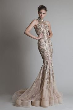 With Positive feedback & good reviews and actual images . 2014 Krikor Jabotian Evening Dresses High Neck Lace Appliques Sheer Tulle Crystal Beaded Glitz Formal Mermaid See Through Back Prom Gowns