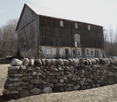 barn turned art workshop with amazing dry-stacked stone wall, north of Kimberley, Ontario