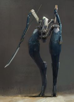"roguetelemetry: "" Robot with naginata, Ivan Rastrigin (via Pin by Mike Blackney on Hard surfaces Character Concept, Character Art, Character Design, Mekka, Future Soldier, Robot Concept Art, Dragons, Cyberpunk Art, Cyberpunk Character"