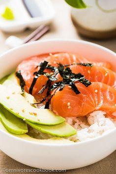 Salmon Sashimi Bowl with Avocado | omnivorescookbook.com