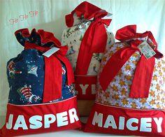 "Personalised "" Christmas Santa Sacks "" .. Diy Christmas Sacks, Christmas Gifts To Make, Christmas Bags, Christmas Fabric, Christmas Love, Christmas Stockings, Christmas Crafts, Personalised Santa Sacks, Personalised Christmas Decorations"
