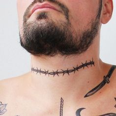 Hauntingly badass blackwork Barbed Wire temporary tattoo, will look amazing on your neck or biceps! Men's Side Neck Tattoos, Tribal Neck Tattoos, Small Face Tattoos, Best Neck Tattoos, Neck Tattoo For Guys, Head Tattoos, Future Tattoos, Tattoos For Guys, Barbed Wire Tattoos