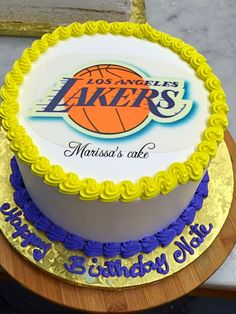 Lakers birthday cake. Visit us Facebook.com/marissa'scake or www.marissascake.com