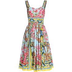 DOLCE & GABBANA 3/4 length dress ($1,197) ❤ liked on Polyvore featuring dresses, flounce dress, floral print sleeveless dress, floral dresses, floral pattern dress and cotton floral dress