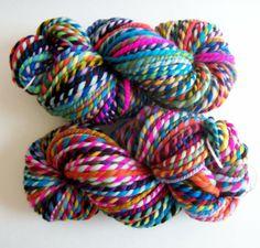 32 Flavors- 2 PLY- rainbow merino wool handspun yarn