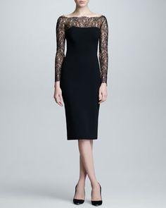Lace Long-Sleeve Jersey Dress, Black by Carolina Herrera at Neiman Marcus.