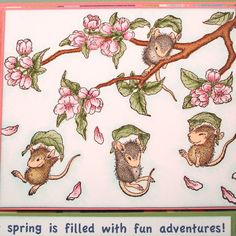 Spring Mouse Card with Fun House Mouse Design on by AnnDesigned, $5.00