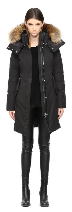KERRY | LONG BLACK WINTER DOWN PARKA WITH FUR HOOD FOR WOMEN | MACKAGE