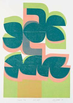 summer pink - woodcut & stencil print - peter green, 1971