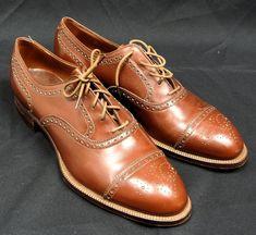 3623cfd4608 Vintage Johnston  amp  Murphy Spade Sole Brown Leather Wingtips 1930s -  Men s 10.5 C