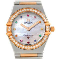 Omega Constellation Iris Steel Rose Gold Multi Stone Watch 1358.79.00
