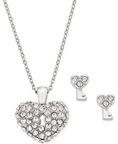 7011444fd216 Charter Club Silver-Tone Crystal Heart Pendant Necklace and Earrings Set