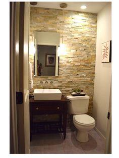 Half bath redo / stone accent wall