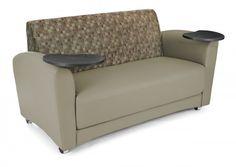 Social seating is easy with OFM's InterPlay Series Vinyl Sofa with Tungsten Tablet. This fully upholstered sofa features a contemporary design that will complement any reception area or conference room. Create two impromptu desks in an instant with the
