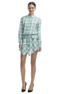 Plaid Ruffle Shirt Dress by No. 21 for Preorder on Moda Operandi