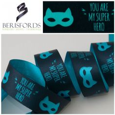 "Tell that super someone what they mean to you with the ""You Are My Super Hero"" ribbon by Berisfords. Priced Per Metre Word Girl, Woman Silhouette, Drink Sleeves, Ribbons, Superhero, Bias Tape"