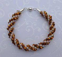 Glitzy Bronze Beaded Kumihimo Bracelet by JewelleryByJanine, £15.00