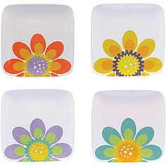 This four-piece dinnerware set from the Modern Garden series features hand-painted ceramic construction. Designed by Robin Pickens, these canape plates are microwave- and dishwasher-safe.