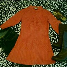 Orange 3/4 Length Sleeve Tunic Top This orange tunic top with 3/4 length sleeves is the perfect addition to your fall wardrobe! It has only been worn and laundered once and is in great condition! Add a scarf and some boots for a super cute outfit! Charlotte Russe Tops Tunics