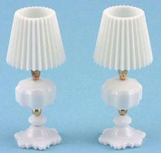 WHITE TABLE LAMPS - beads and toothpaste caps