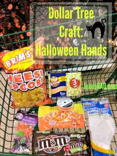 Halloween Hands are a simple and fun craft and snack in one! I picked up everything I needed at Dollar Tree, making this a cheap craft that is yummy, too.