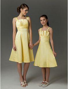 A-line Straps Knee-length Taffeta Junior Bridesmaid Dress - USD $ 69.99