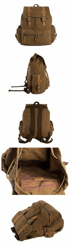 Vintage Style Canvas Backpack, School Backpack, Canvas Leather Backpack, Rucksack