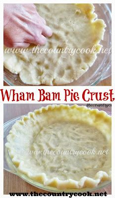 bam pie crust The Country Cook: Wham Bam Pie Crust -- wonder if this would work with GF flour?The Country Cook: Wham Bam Pie Crust -- wonder if this would work with GF flour? Party Desserts, Just Desserts, Delicious Desserts, Yummy Food, Pie Dessert, Dessert Recipes, Pie Crust Recipes, Pie Crusts, Think Food