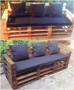Reusing or reusing wood pallets into indoors or outdoors home furnishings has come to be highly regarded business associates around the world. Pallet Lounge, Diy Pallet Sofa, Pallet Patio Furniture, Pallet Beds, Diy Pallet Projects, Furniture Ideas, Pallet Dining Table, Diy Outdoor Table, Outdoor Decor