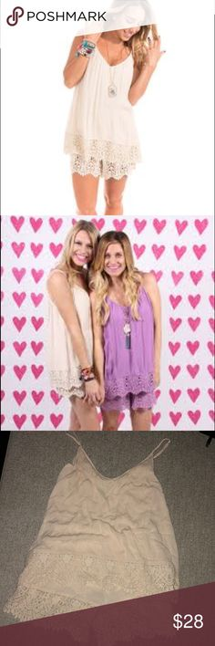 Buddy Love Izzy and Lola Romper Cream romper with lace detail. Super flattering and comfy! Adjustable straps. Only worn once! Buddy Love Dresses