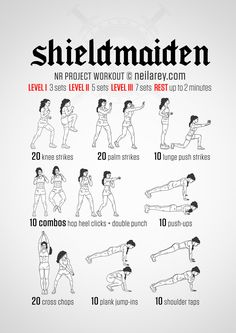 Shieldmaiden Workout:Shieldmaidens fought in battle and often led their own men. To match a hardened warrior, armed to the teeth and bristling with muscle you need more than just strength. You need fortitude, some killer tendon strength, agility and a core of steel, oh, and as much upper body strength as you can muster. The Shieldmaiden workout is designed to take you through your paces, give you a little of what you need and a lot of what you want.