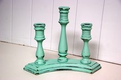 vintage candle sticks;; i'm loving teal and turquoise lately, this is new!