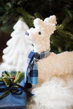 diy textured reindeer and Christmas tree