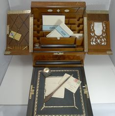 Old Boxes, Antique Boxes, Rococo Furniture, Campaign Furniture, Quality Cabinets, Writing Table, Cabinet Making, Desktop Accessories, Writing Instruments