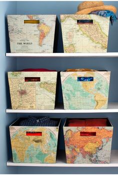 Here off-the-shelf storage bins convey color pattern and travel inspiration with the help of old maps matte-finish Mod Podge glue (which becomes transparent when dry) a paint brush and a putty knife to smooth out bubbles. Map Crafts, Map Globe, Old Maps, Closet Bedroom, Closet Paint, Bedroom Storage, Blog Deco, Travel Themes, Travel Destinations