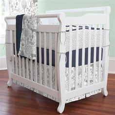 Navy and Gray Woodland Mini Crib Bedding | Carousel Designs